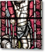 Jesus Christ Crucifixtion Stained Glass Metal Print