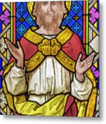 Jesus Christ Stained Glass Metal Print