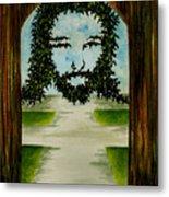 Jesus Face In Vines Metal Print