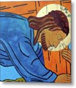 Jesus Falls Under The Cross Metal Print