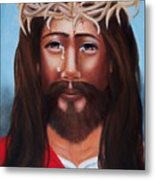 Jesus In Red Metal Print
