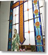 Jesus In The Church Window And School Girls In The Background Metal Print
