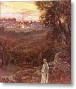 Jesus On The Mount Of Olives Metal Print by William Brassey Hole
