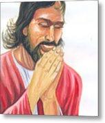 Jesus Praying Metal Print