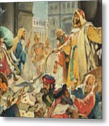Jesus Removing The Money Lenders From The Temple Metal Print
