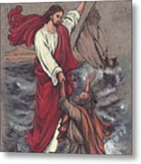 Jesus Saves Peter Metal Print