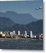 Jet Plane Taking Off From Puerto Vallarta Airport With Pacific O Metal Print
