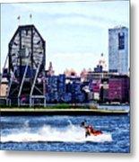 Jet Skiing By Colgate Clock Metal Print