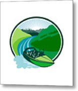 Jetboat River Canyon Mountain Oval Retro Metal Print
