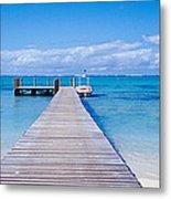 Jetty On The Beach, Mauritius Metal Print