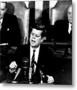 Jfk Announces Moon Landing Mission Metal Print by War Is Hell Store