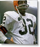 Jim Brown, Cleveland Browns, Signed Metal Print