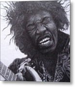 Jimi Hendrix Drawing Metal Print