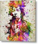 Jimi Hendrix In Color Metal Print