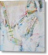 Jimi Hendrix Playing The Guitar.9 - Watercolor Portrait Metal Print