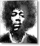 Jimi Hendrix sketch pen portrait Metal Print