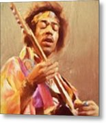 Jimi Jamming Metal Print