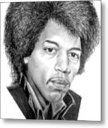 Jimmi Hendrix By Murphy Art. Elliott Metal Print