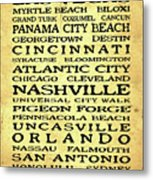 Jimmy Buffett Margaritaville Locations Black Font On Yellow Brown Texture Metal Print