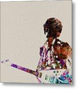 Jimmy Hendrix With Guitar Metal Print