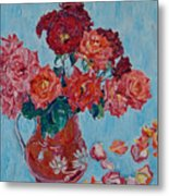 Jjug With Red Roses Metal Print