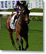 Jockey In Purple And White Riding Racehorse Metal Print