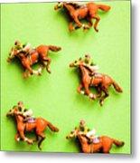 Jockeys And Horses Metal Print