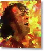 Joe Cocker Colorful Palette Knife Metal Print