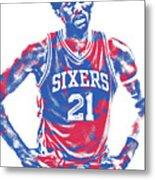 Joel Embiid Philadelphia Sixers Pixel Art 10 Metal Print
