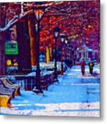 Jogging In The Snow Along Boathouse Row Metal Print
