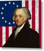 John Adams And The American Flag Metal Print by War Is Hell Store