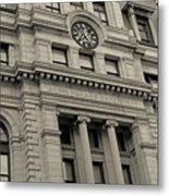 John Adams Courthouse Boston Ma Black And White Metal Print