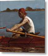 John Biglin In A Single Scull Metal Print