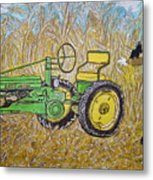 John Deere Tractor And The Scarecrow Metal Print
