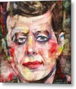 John F. Kennedy - Watercolor Portrait.3 Metal Print