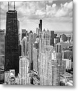 John Hancock Building In The Gold Coast Black And White Metal Print