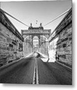 John Roebling Bridge Entrance - Cincinnati Ohio Black And White Metal Print