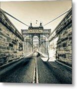 John Roebling Bridge Entrance - Cincinnati Ohio Sepia Print Metal Print