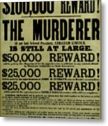 John Wilkes Booth Wanted Poster Metal Print