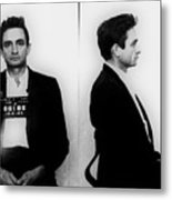 Johnny Cash Mug Shot Horizontal Metal Print