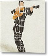 Johnny Cash Typography Art Metal Print