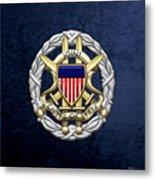 Joint Chiefs Of Staff - J C S Identification Badge On Blue Velvet Metal Print