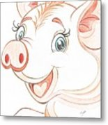 Jolly Miss Piggy Metal Print