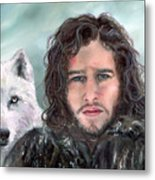 Jon Snow And Ghost Metal Print