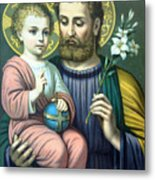 Joseph And Baby Jesus Metal Print