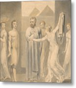 Joseph And Potiphar's Wife Metal Print