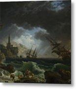 Joseph Vernet   A Shipwreck In Stormy Seas Metal Print