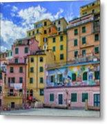 Joy In Colorful House In Piazza Di Riomaggiore, Cinque Terre, Italy Metal Print