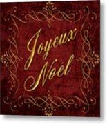 Joyeux Noel In Red And Gold Metal Print