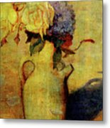 Jug With Yellow And Violet Flowers Metal Print